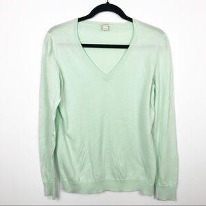 J.Crew Vneck Long Sleeve Sweater Green M